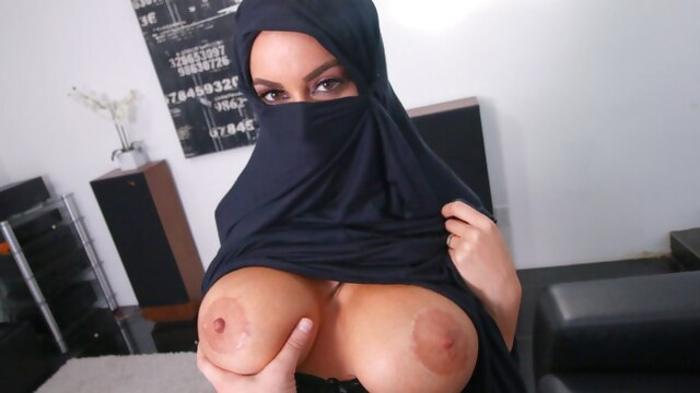 Busty Muslim.. blowjob big boobs interracial